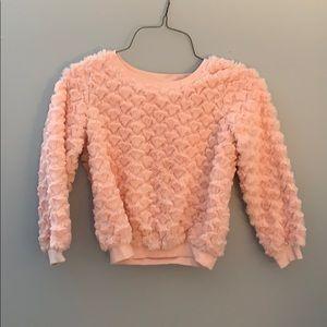 Girls Cute Heart Furry Sweatshirt xhileration 6/6x